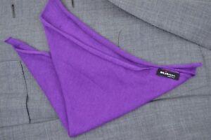 "NEW $165 KITON Vivid Purple Soft Silk Cashmere 13 x 13"" Pocket Square FREE SHIP"