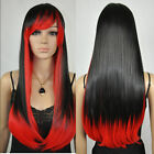 Women's Long Straight Black Red Mix Costume Party Cosplay Full Hair Wig