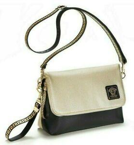 VERSACE Clutch CROSSBODY Wristlet Bag Iconic GRECA Key & MEDUSA Gold Black NIP