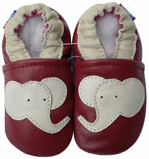 carozoo elephant dark red 18-24m soft sole leather baby shoes