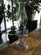 Beautiful Antique Sun Purple Glass Kerosene Oil Lamp PICKARD PATTERN Glows