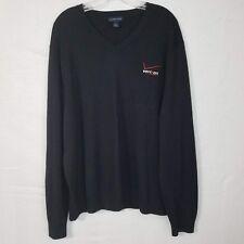 Lands End Mens Black Verizon Embroidered Employee Work V-Neck Sweater SZ XL Y120