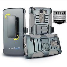 GRAY REFINED ARMOR COVER PHONE CASE & SWIVEL HOLSTER CLIP FOR LG G3 STYLUS D690
