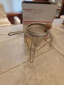 Vintage Aluminum Food Mill Strainer With Stand And Wood Pestle