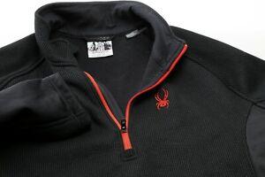 Spyder Mens XXL Golf 1/4 Zip Jacket Lightweight Sweater Pullover Black Red 2XL