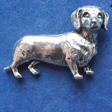 Pewter Dachshund Sausage Dog Brooch Pin Signed