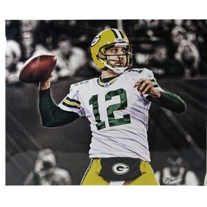 AARON RODGERS THROWING BALL GREEN BAY PACKERS 20x24 WILLIAM HAUSER PHOTO SIGNING