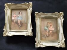 Lot 2 Vintage 1950s Pal Fried Picture Frame Lithograph Children Ballerinas