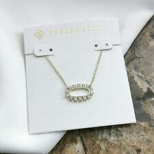 Crystal Pendant Necklace In Gold New Kendra Scott Elisa Open Frame