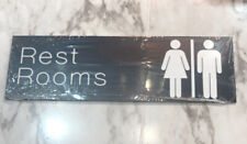 "Restroom Wall/Door Sign-Engraved Office and Workplace Signs 3 X 10"" Black White"