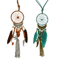 Boho Dream Catcher Feather Pendant Chain Necklace Women Jewelry Vintage Gift