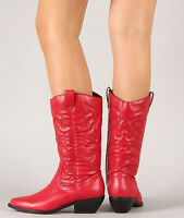 Women Red Cowboy Cowgirl Western Boot P-Leather Heel Shoe Rodeo Pointy Soda Reno