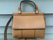 "NEW Tory Burch Block ""T"" Mini Smooth Leather Crossbody bag -Aged Vachetta Brown"