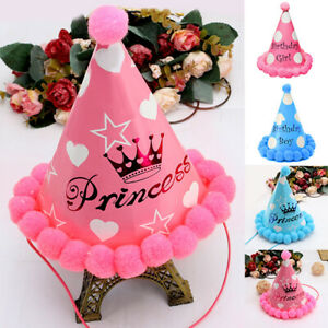 Paper Cone Hat Dress Up Girls Boys My First Birthday Party Cap Supplies Decor x1