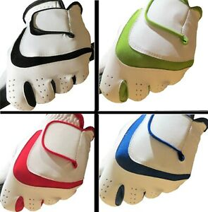 White 100% LEATHER Mens Ladies Golf Glove Gloves Blue,Red,Green Left Right Hand
