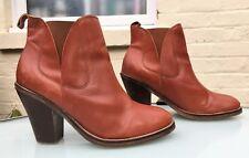 TopShop Tan Brown Leather Ankle Boots - Cuban Style - Eu 41 / UK 8 - Stunning