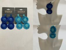 Sugarfix by Baublebar Blue Round Tiered Tassel Earrings Lot of 2 New