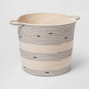 CLOUD ISLAND Baby Decorative Coiled Rope Basket   Cream/Navy   🆕