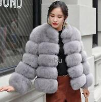 Ladies Fox Fur Coat Mid Long Jacket Thicken Warm Winter Parkas Outwear Thicken