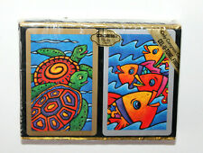 Vintage Congress Bold Colors Tropical Fish & Turtles Playing Cards 2 Decks New