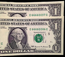 Pair of $1 One Dollar Bills, Cool Serial Numbers with 666600 US Currency, Sixes