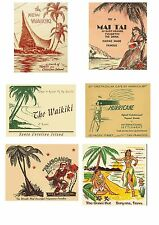 12 Reproduction Vintage Luggage Suitcase Labels Stickers - Tiki Road Trip No.3