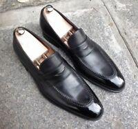 Handmade Men black Leather Dress shoes moccasins Loafer, Men black formal shoes