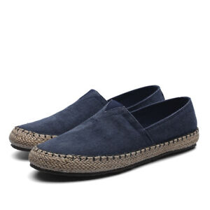 Mens Canvas Driving Pumps Walking Loafers Leisure Flat Outdoor Slip On Shoes B