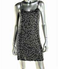 WYATT Womens $387 BLACK SEQUINED SLIP DRESS COCKTAIL DRESS FULLY LINED XS NWT