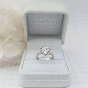 4ct Pave Set Diamant Solitär Verlobungsring Sterling Silber Platin Finish