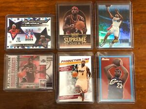 LEBRON JAMES INSERT & SERIAL NUMBERED CARD LOT (6)  ALL MINT !  PACK TO HOLDER !