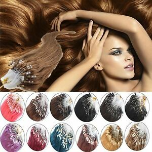50S/100S Remy Loop Micro Ring Silicone Beads Human Hair Extensions 16-26Inch