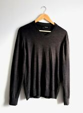 The Kooples Mens Merino wool thin sweater with leather piping Medium Dark Grey