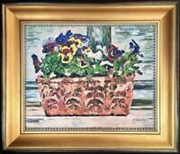 Original Oil Painting Still Life Pansies Violas Flowers Impressionist Wall Art 1