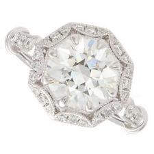 2.50ct Round K VS2 GIA Certified Vintage Platinum Diamond Engagement Ring