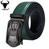 Green Full Grain Leather Mens Belts Car Automatic Buckles Ratchet Waist Straps