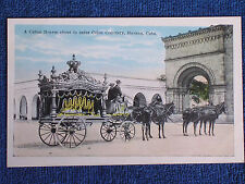 Havana Cuba/Horse Drawn Hearse at Colon Cenetery/Printed Color Photo PC/Unposted