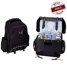 2pc Biker Motorcycle Luggage Backpack & Cooler Bag Set Studded New Heavy Duty