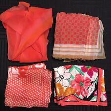 4 Scarves Oblong All Silk Light Red Floral Sheer Nipon Anika Dali Vtg Scarf Lot