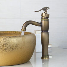 Antique Brass Bathroom Faucet Single Handle Deck Mounted Sink Basin Mixer Taps