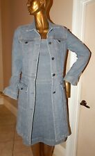 Theory Blue Denim Long Jacket Dress Suit sz 8 USA