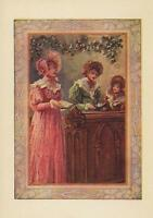 ANTIQUE VICTORIAN WOMAN PINK DRESS HAT CHURCH SINGING PEW FLOWER GARLAND PRINT
