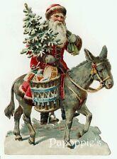 Vintage Christmas Fabric Block Santa Claus riding Donkey