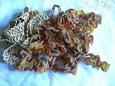 Large Lot Of Unusual Vintage Metallic/Corded/Rayon Lace~Dress Trim~Passementerie