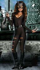 Womens ladies Halloween cat suit slit catwoman costume party black sexy jumpsuit