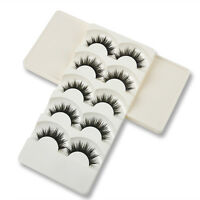 Soft Handmade 5 Pairs Makeup Thick False Eyelashes Eye Lashes Long Black Nautral