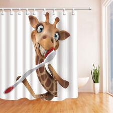 "Funny Giraffe Brushing Teeth Kids Cartoon Shower Curtain Waterproof Fabric 71"""