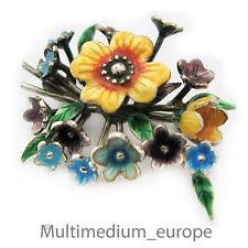 925 Sterling Argent Broche EMAILLE FLEUR N silver brooch Flower S