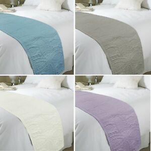 Luxury Paris Floral Embossed Quilted Bed Runner Throw 45cm x 220cm King Double
