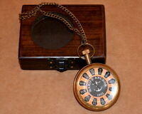 Vintage antique maritime brass pocket watch marine anchor 1912  w/ wooden box
